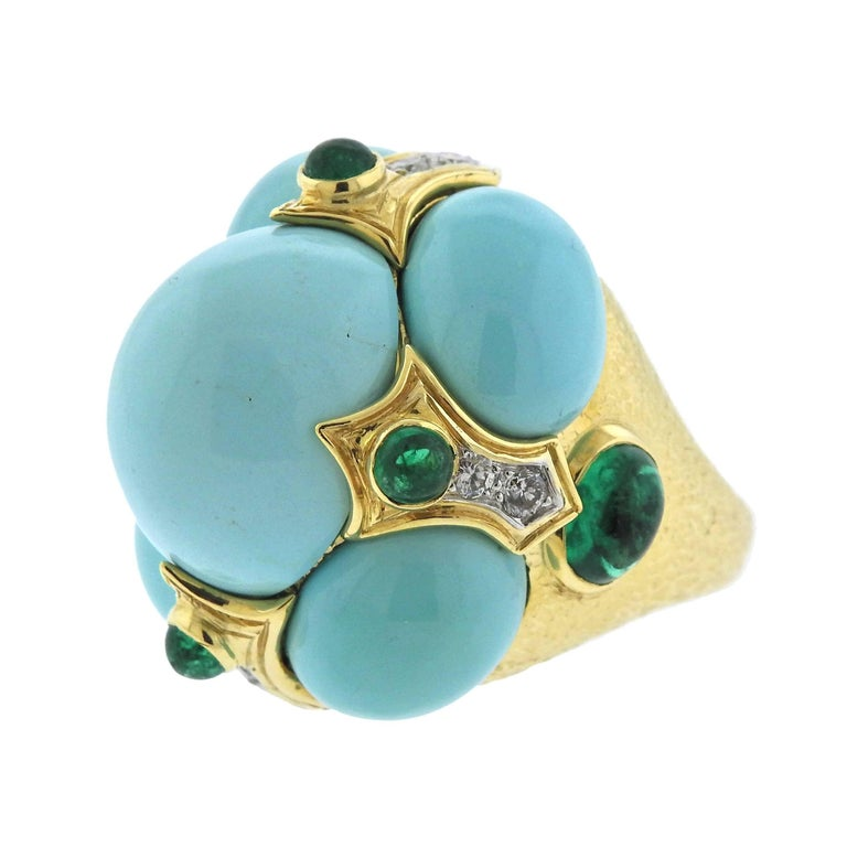 David Webb Turquoise Emerald Diamond Gold Platinum Turban Ring In Excellent Condition For Sale In Lahaska, PA