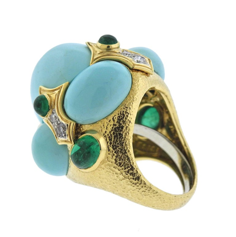 Women's David Webb Turquoise Emerald Diamond Gold Platinum Turban Ring For Sale