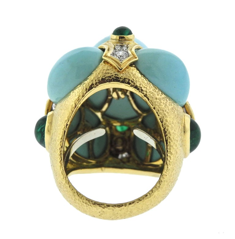 David Webb Turquoise Emerald Diamond Gold Platinum Turban Ring For Sale 1