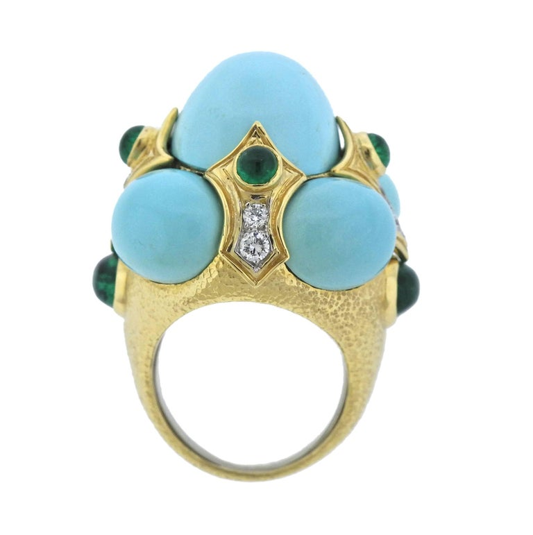 David Webb Turquoise Emerald Diamond Gold Platinum Turban Ring For Sale