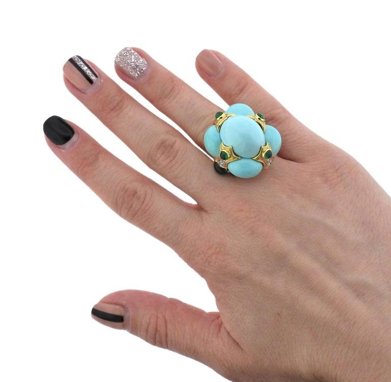 David Webb Turquoise Emerald Diamond Gold Platinum Turban Ring For Sale 2