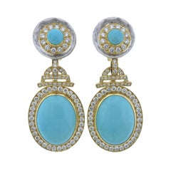 David Webb Turquoise Diamond Crystal Gold Platinum Drop Earrings