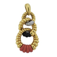 Kutchinsky Diamond Coral Onyx Gold Pendant