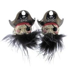 Deakin & Francis Sterling Silver Enamel Hairy Pirate Cufflinks