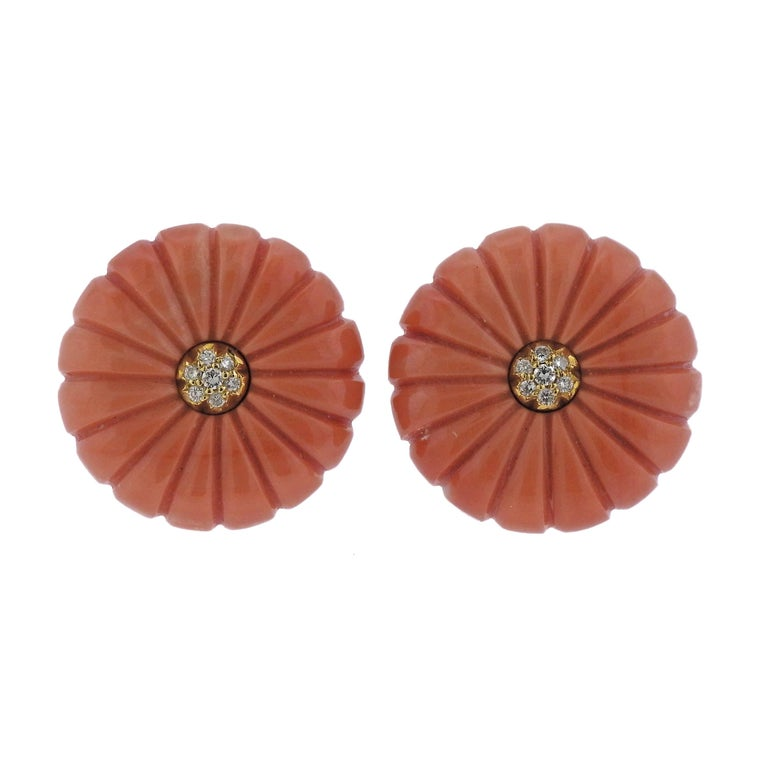 Carved Coral Diamond Gold Earrings