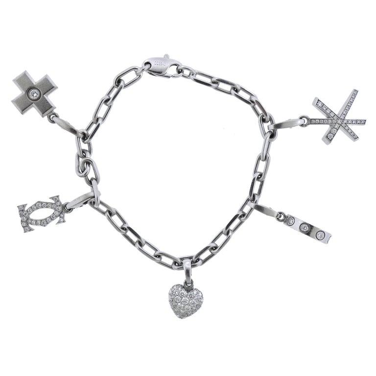 Cartier Love Gold Diamond Multi Charm Bracelet