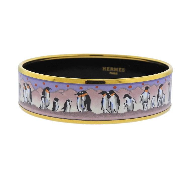 Hermes Enamel Penguin Bangle Bracelet For Sale