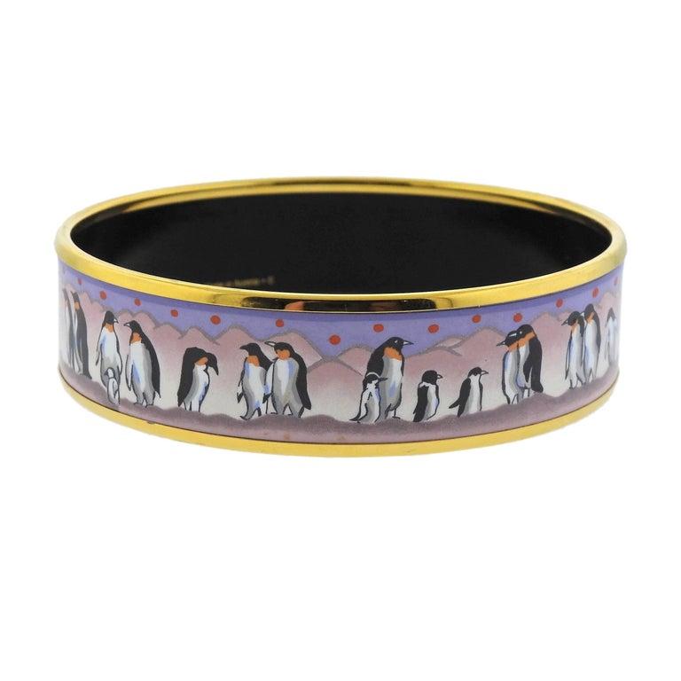 Women's or Men's Hermes Enamel Penguin Bangle Bracelet For Sale