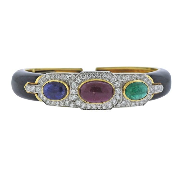 David Webb Gold Platinum Diamond Ruby Sapphire Emerald Bracelet