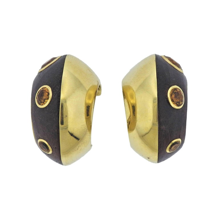 Seaman Schepps Wood Citrine Gold Hoop Earrings