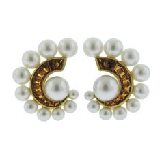 Seaman Schepps Citrine Pearl Gold Swirl Earrings