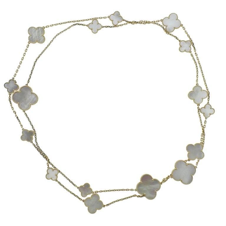 Van Cleef & Arpels Magic Alhambra Mother of Pearl Gold 16 Motif Necklace