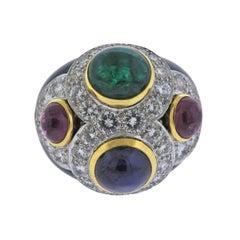 David Webb Gold Platinum Diamond Sapphire Emerald Ruby Enamel Ring