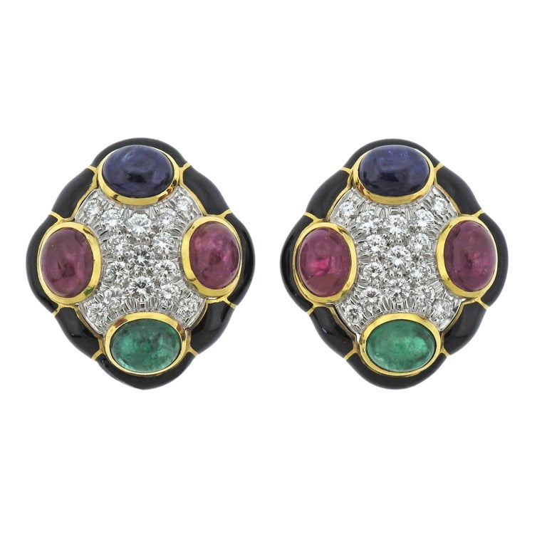 David Webb Gold Platinum Diamond Sapphire Emerald Ruby Enamel Earrings