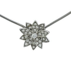 Van Cleef & Arpels Diamond Gold Lotus Pendant Necklace