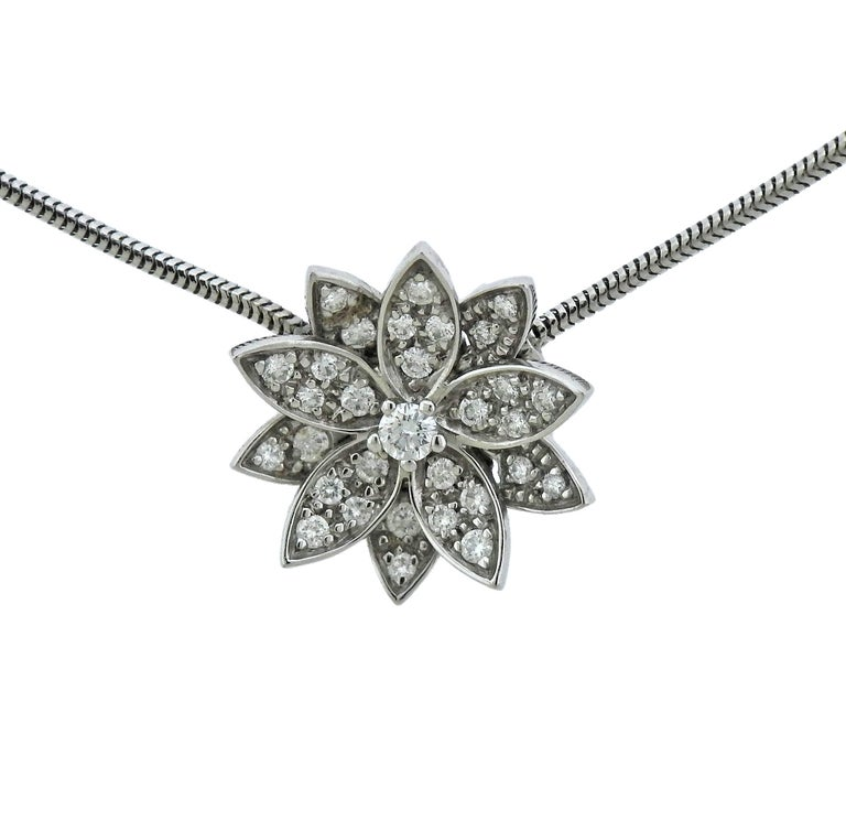 Van Cleef & Arpels Diamond Gold Lotus Pendant Necklace
