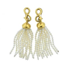 1980s Angela Cummings Pearl Gold Tassel Earrings