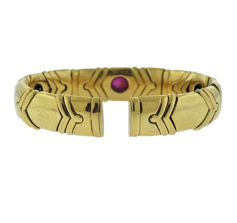 Bulgari Diamond Emerald Ruby Sapphire Gold Bracelet In Excellent Condition For Sale In Lahaska, PA