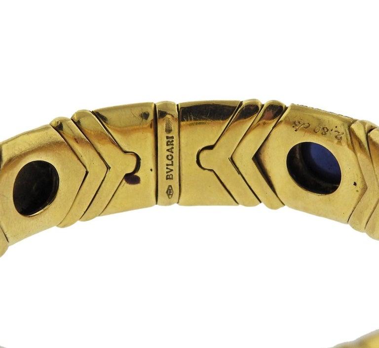 Women's or Men's Bulgari Diamond Emerald Ruby Sapphire Gold Bracelet For Sale