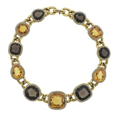 Impressive 10 Carat Diamond Topaz Gold Cocktail Necklace