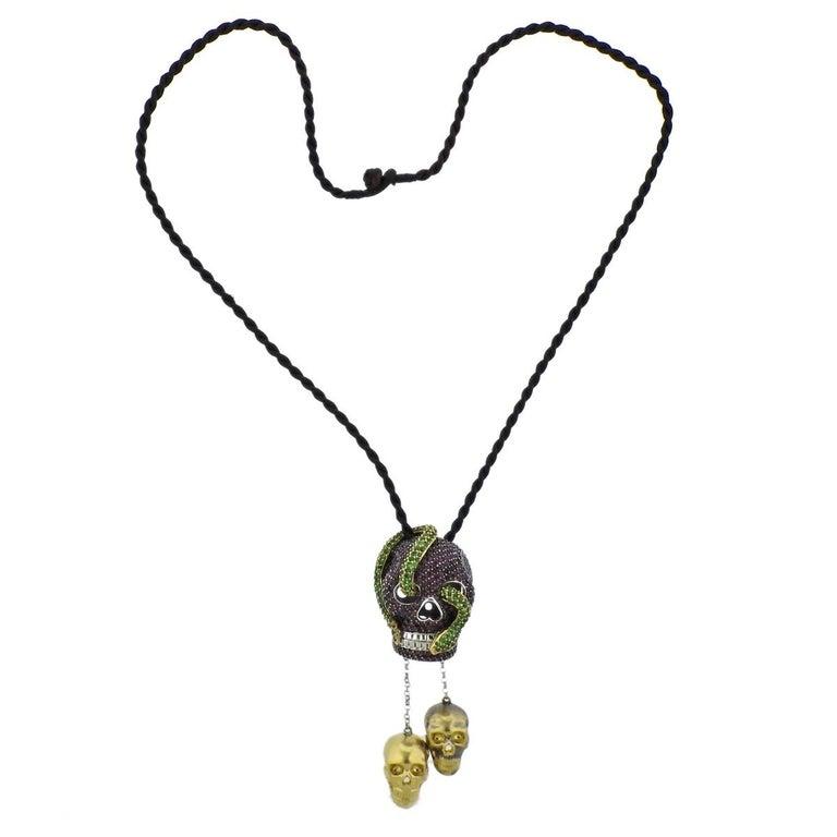 Alp sagnak ruby tsavorite garnet skull gold pendant cord necklace alp sagnak ruby tsavorite garnet skull gold pendant cord necklace for sale aloadofball Images