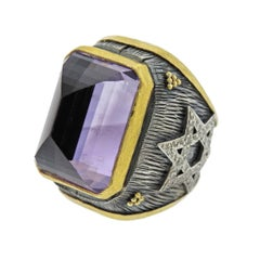 Alp Sagnak Silver Gold Diamond Amethyst Large Ring