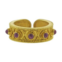 Lalaounis Greece Ruby Gold Cuff Band Ring