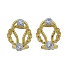 Buccellati Diamond Yellow White Gold Open Circle Earrings