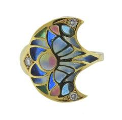 Plique a Jour Diamond Gold Ring