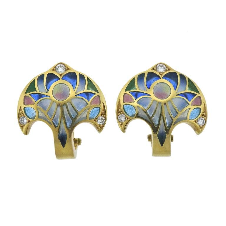 Plique-à-Jour Diamond Gold Earrings