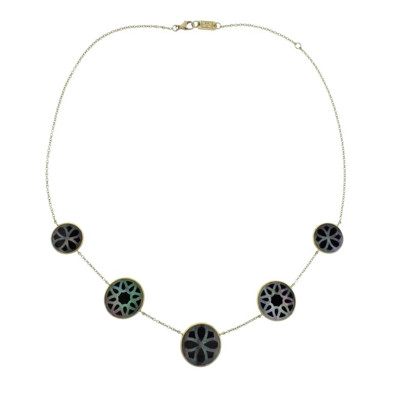 Ippolita Rock Candy Phantom Onyx Shell Gold Station Necklace