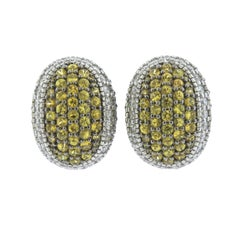 Judith Ripka Gold Lemon Citrine Diamond Earrings