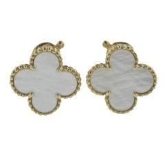 Van Cleef & Arpels Vintage Alhambra Mother-of-Pearl Gold Earrings
