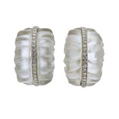 1960s Carved Crystal Diamond Gold Half Hoop Earrings