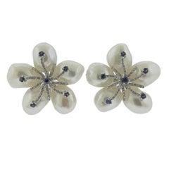 Diamond Pearl Sapphire Gold Flower Earrings
