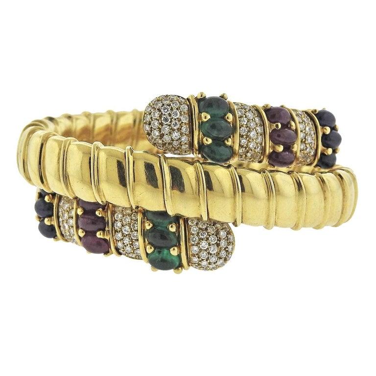 Ruby Emerald Sapphire Diamond Gold Wrap Bracelet For Sale