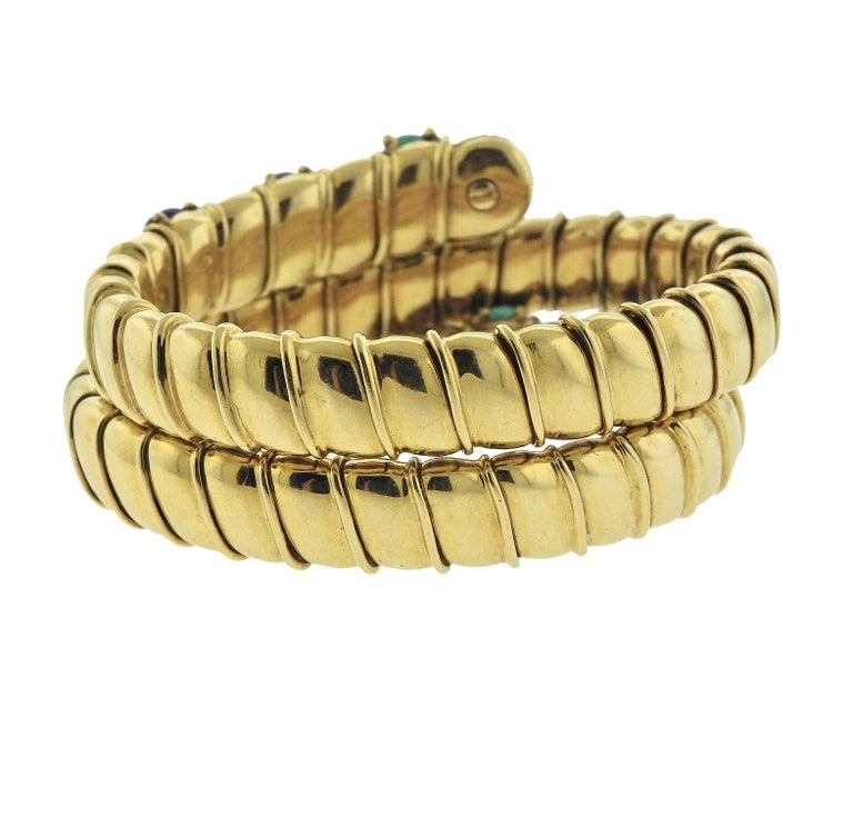 Ruby Emerald Sapphire Diamond Gold Wrap Bracelet In Excellent Condition For Sale In Lahaska, PA