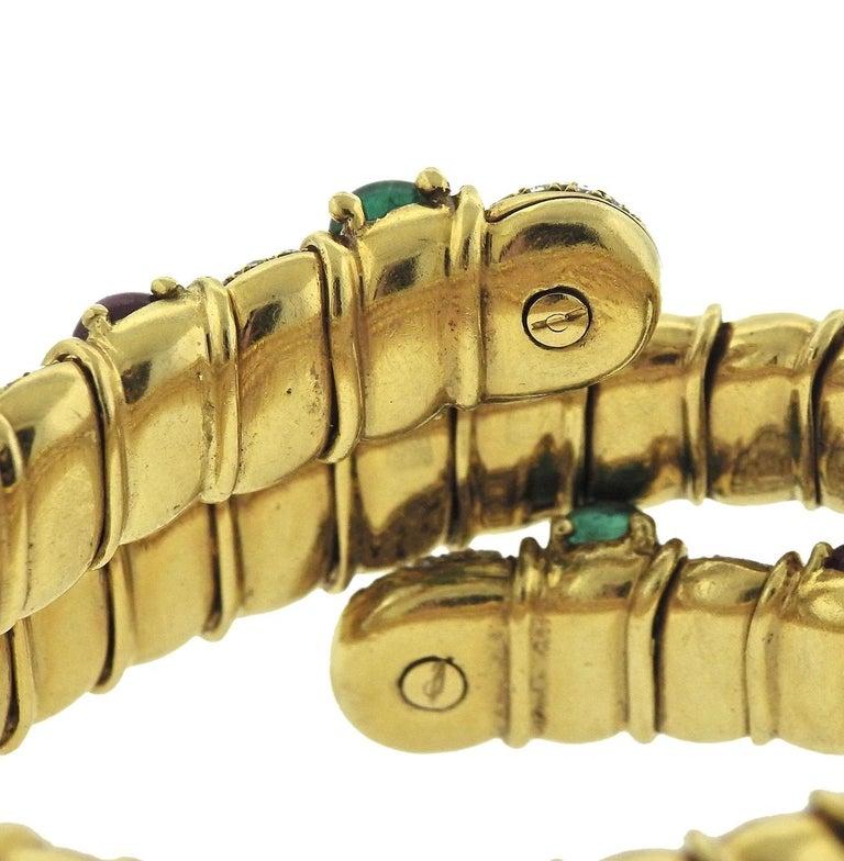 Women's Ruby Emerald Sapphire Diamond Gold Wrap Bracelet For Sale