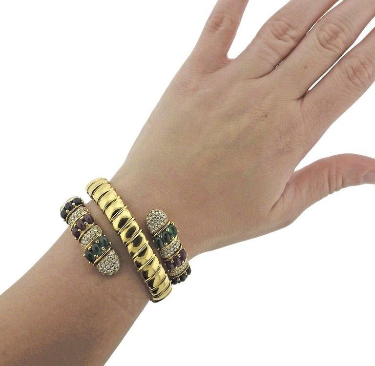 Ruby Emerald Sapphire Diamond Gold Wrap Bracelet For Sale 1