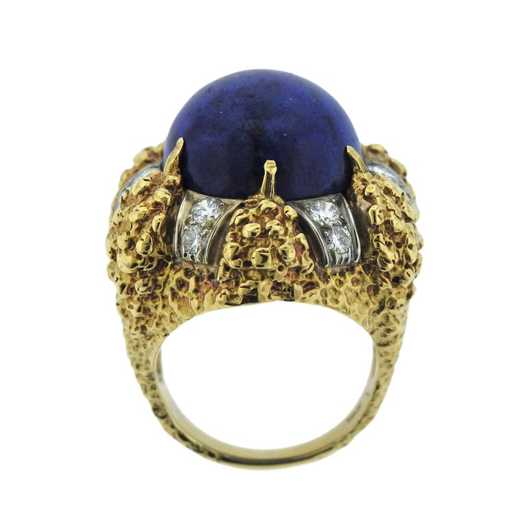 1970s Modernist Lapis Diamond Gold Ring