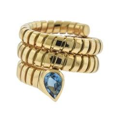Bulgari Tubogas Blue Topaz Gold Wrap Ring