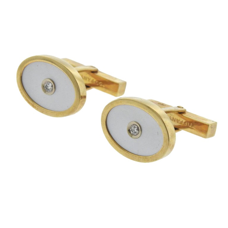 Tiffany & Co. Mother-of-Pearl Diamond Gold Cufflinks