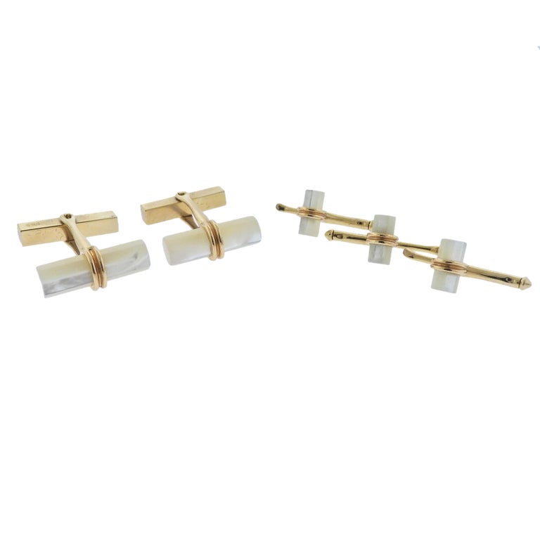 Tiffany & Co. Mother-of-Pearl Gold Cufflink Stud Set
