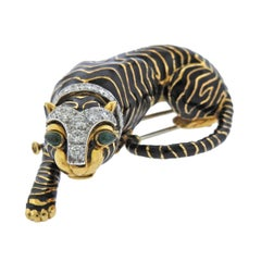 David Webb Diamond Emerald Platinum Gold Tiger Brooch