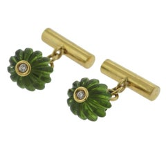 Carved Peridot Diamond Gold Cufflinks
