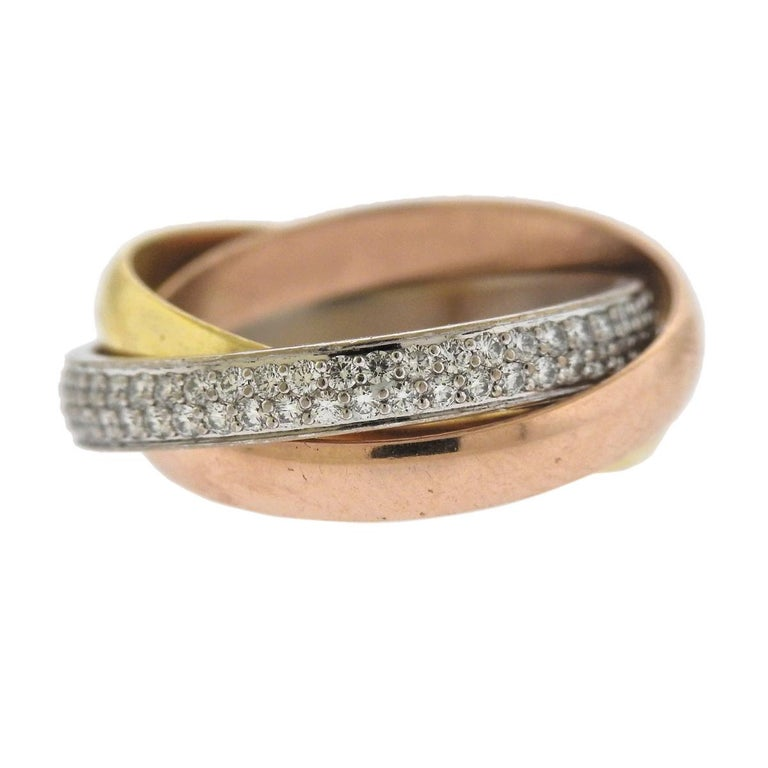Cartier Trinity Diamond Tri Color Gold Rolling Band Ring