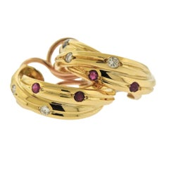 Cartier Trinity Ruby Sapphire Diamond Gold Hoop Earrings