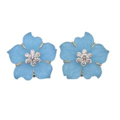Seaman Schepps Clematis Crystal Turquoise Diamond Gold Flower Earrings