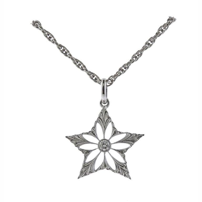 Buccellati Diamond Gold Star Pendant Necklace