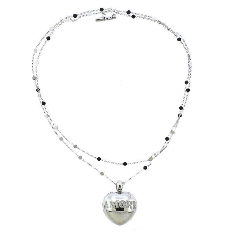 Pasquale Bruni Amore Diamond Gold Heart Pendant Long Necklace